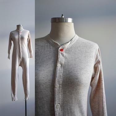 Vintage Long Underwear / Vintage Duofold Union Suit / Cotton Knit Long Underwear / Cotton Union Suit / Vintage Pajamas / Long Underwear 38 by milkandice