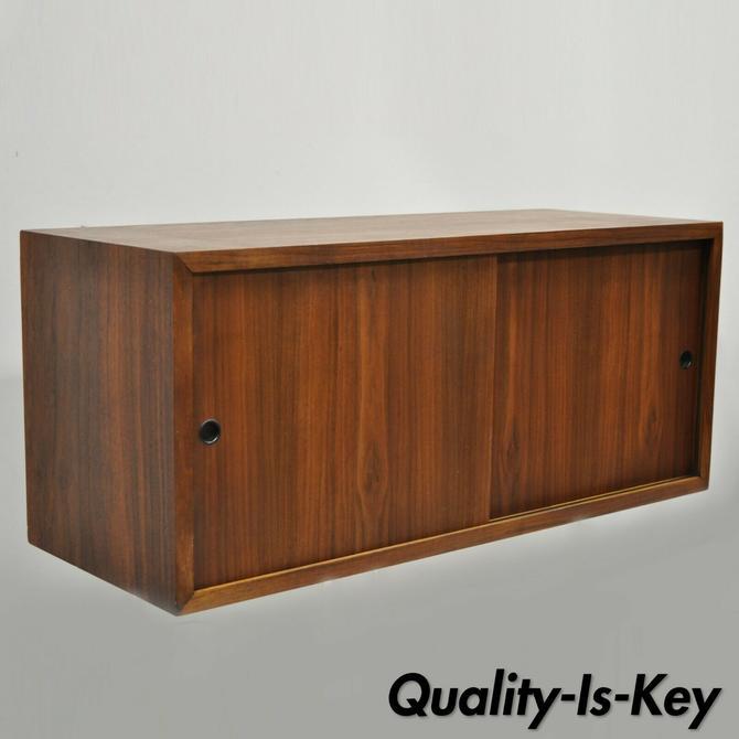 Vintage Mid Century Danish Modern Teak Sliding Door Wall Unit Cabinet Section A