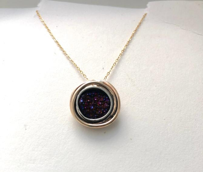 Purple Druzy Nest Pendant in 14k Gold Fill and Sterling Silver Handmade Slide Pendant by RachelPfefferDesigns