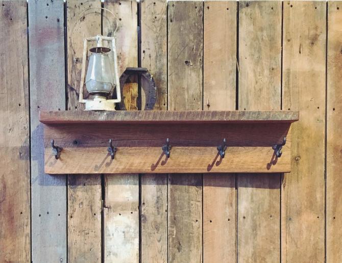 Reclaimed Wood Coat Rack with Shelf / Barn Wood Coat Hanger by wwmake