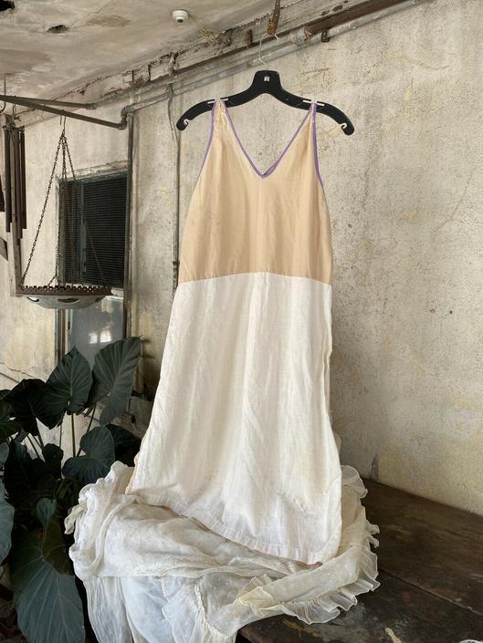 Antique 1930s Sand, White & Purple Cotton Sleeveless Day Dress Lounge Vintage