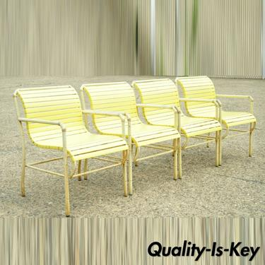 Vintage Faux Bamboo Aluminum Yellow Hauser Pool Patio Dining Chairs - Set or 4