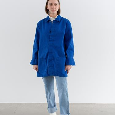Vintage Bright Blue Chore Jacket   Unisex Cotton Utility Work Coat   Made in Italy   M   IT194 by RAWSONSTUDIO