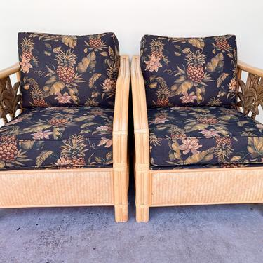 Pair of Rattan Palm Lounge Chairs
