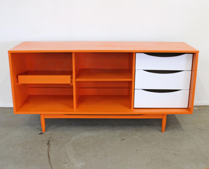 Mid-Century Modern Open Face Atomic Orange Credenza Media Console by AnnexMarketplace