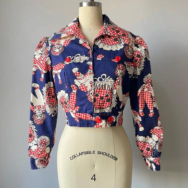 1970s Cropped Jacket Cotton Gingham Raggedy Ann XS by dejavintageboutique
