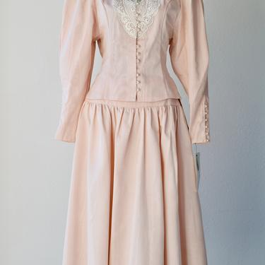 80s Vintage NOS NWT Victorian Pink Moire Taffeta Full Midi Skirt Suit Scott McClintock, Guipure Lace Mutton Sleeve Button Jacket Bride Dress by MOBIUSMOD