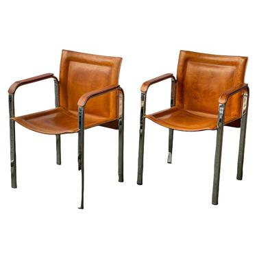 Free Shipping Within US - Swedish Mid Century Modern Leather Chrome Accent Club Chair by BigWhaleConsignment