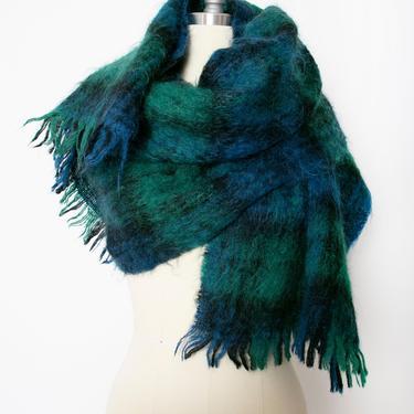 1960s Mohair Oversized Knit Shawl Plaid Wrap Scarf by dejavintageboutique