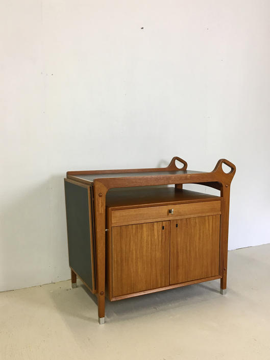 Danish Modern Teak Rolling Bar Cart for Dyrlund by retrocraftdesign