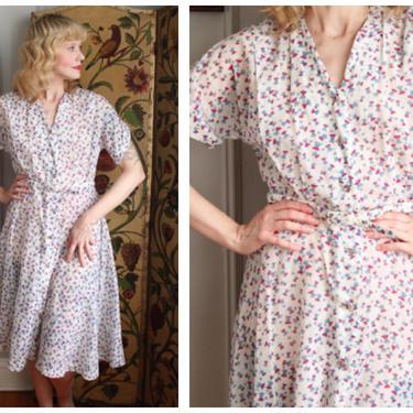 1940s Dress // Spindle Sheer Nylon Dress // vintage 40s dress by dethrosevintage