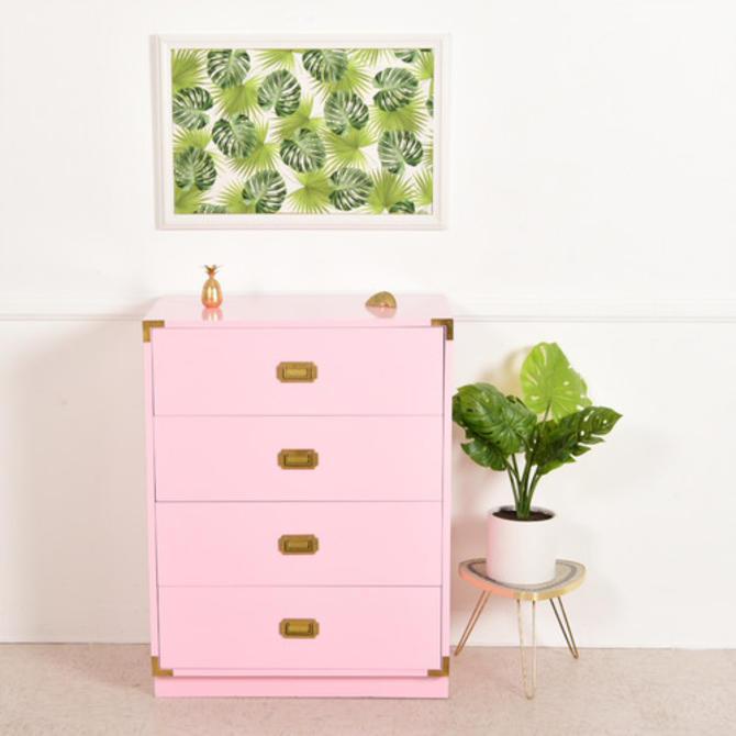 Pink Campaign Vintage Highboy Dresser
