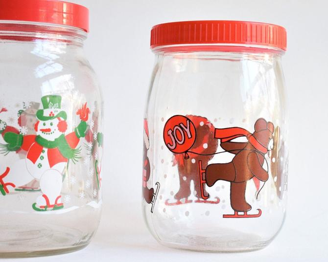 French Glass Canister | Christmas Ice skating Teddy Bears Kitsch Graphic | Made in France | 1 L w/ Red Plastic Twist Lid Holiday Decoration by LostandFoundHandwrks