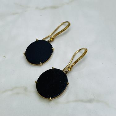Vintage Carmin Ebony Wood and Yellow Sapphire Drop Earrings