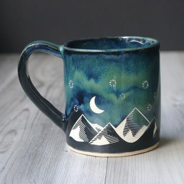 Good Day + Night Mountains Cascade Mug - sgraffito carved rustic pottery by BreadandBadger