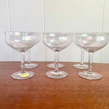 Set of 6– Vintage Champagne Cocktail Coupe Glasses; Clear Iridescent Opalescent Glass; Fostoria Coupes by BlackcurrantPreserve
