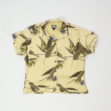 Strelitzia Top — vintage silk shirt / 90s Tommy Bahama tropical print vacation top / short sleeve pale yellow Hawaiian botanical blouse by fieldery