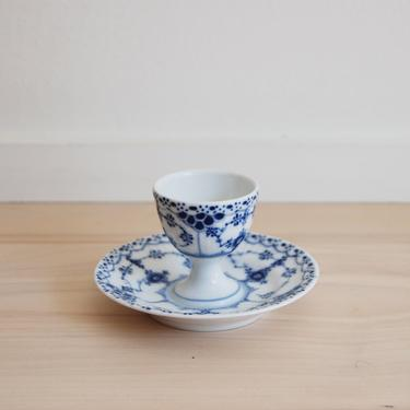 Royal Copenhagen Blue Fluted Half Lace Egg Cup with Attached Plate Made in Denmark, 543 by MidCentury55
