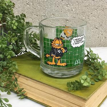 Vintage Garfield Mug Retro 1970s McDonalds + Jim Davis + Anchor Hocking + Clear Glass + Vinyl Print + Novelty Coffee Mug + Kitchen Drinkware by RetrospectVintage215