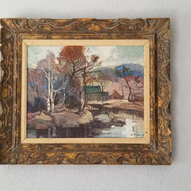 1970s Montreal Artist Guy Duveyre Rural River Landscape Oil on Canvas Painting by MIAMIVINTAGEDECOR