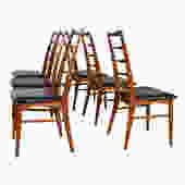 Walnut Set of 6 Koefoeds Hornslet Danish Modern Side Dining Chairs