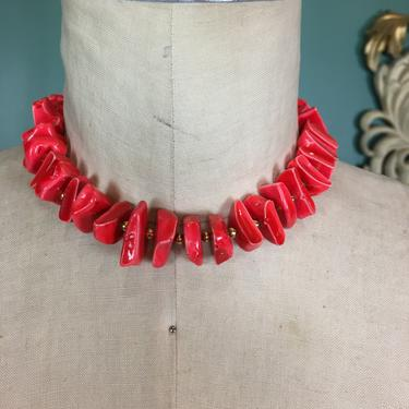 1960s necklace, chunky red necklace, vintage 60s jewelry, coral like beads, trifari jewelry, vintage choker, rockabilly style, mrs maisel by BlackLabelVintageWA