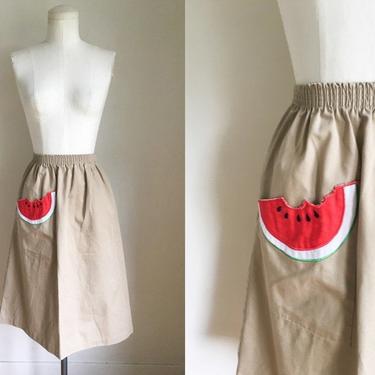 Vintage 1970s Watermelon Pocket Novelty Skirt / XS-S by MsTips