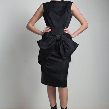 vintage 50s wiggle dress black faille big bow party cocktail sleeveless round neck S M small medium by shoprabbithole