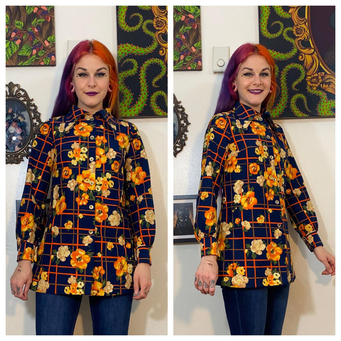 Vintage 1970's Blue and Orange Floral Long Sleeve Top by SurrealistVintage