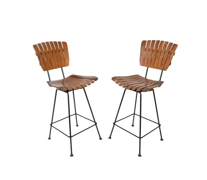 Excellent Slat Seat Bar Stools Arthur Umanoff Mid Century Modern Kitchen Height Stool By Hearthsidehome Pabps2019 Chair Design Images Pabps2019Com