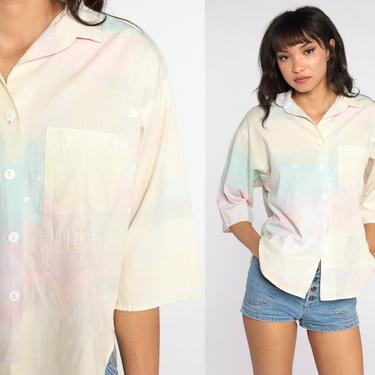 Pastel Ombre Shirt 80s Bleach Splatter Shirt Gradient Blouse Long Sleeve Top 1980s Button Up Shirt Cotton Vintage Bohemian Yellow Medium by ShopExile