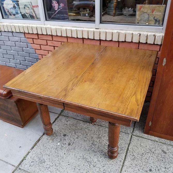 "SOLD. Square Oak Dining Table, 43"", $150"