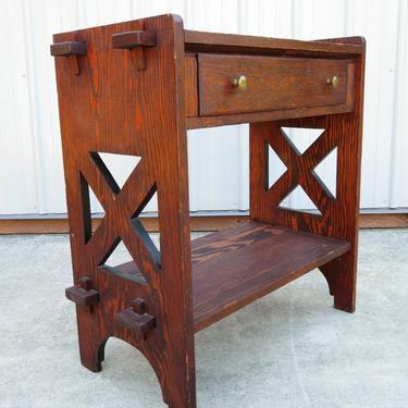 VTG Handmade SOLID WOOD OAK SIDE HALL TABLE W/ DRAWER Folk Art FURNITURE Mission