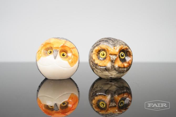 Pair of Alabaster/Marble Italian Owl Paperweights