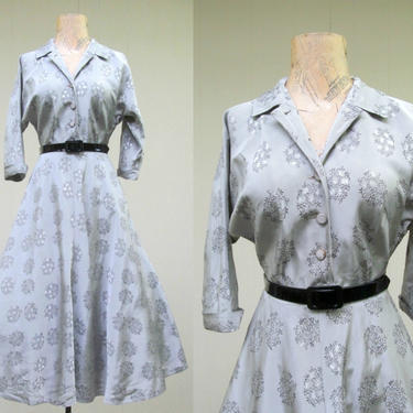 Vintage 1950s Rockabilly Dress, 50s Silver Rayon Taffeta Floral Pattern Full Bias Cut Skirt Swing Dance VLV Frock, 34 Bust Small by RanchQueenVintage