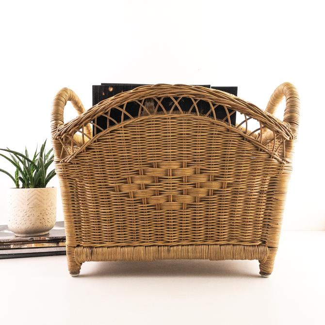 Vintage Woven Rattan Magazine Floor Rack Holder, Album Rack, Wicker Basket with Handle by PebbleCreekGoods