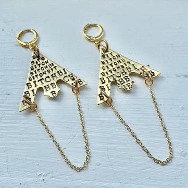 Bitch Metal Chain Earrings, Brass