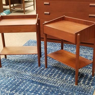 Pair of small scale Danish Modern teak nightstands by Borge Mogensen