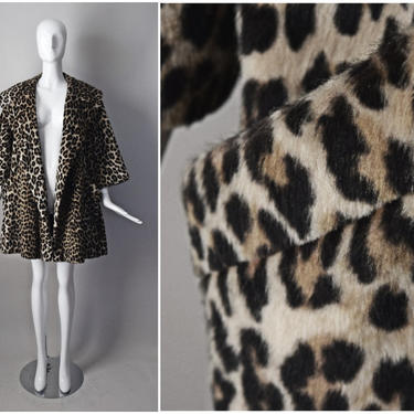 vtg 60s Dan Millstein faux fur leopard print swing coat    1960s animal print   open style with pockets   pinup girl Size L Large by PinkhamRoadRetro