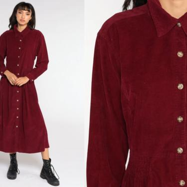 Burgundy CORDUROY Dress 80s Midi Button Up Dress High Waisted Long Sleeve Hipster Vintage Maroon Retro Extra Large xl by ShopExile