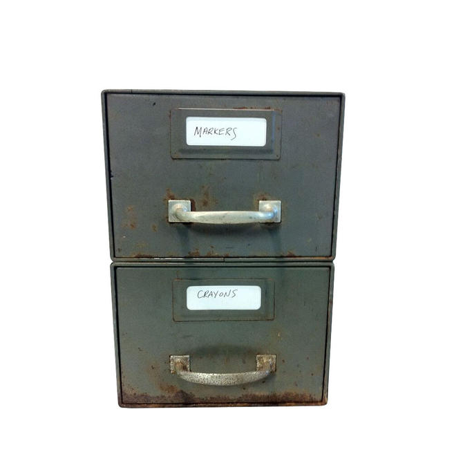 Industrial Metal Two-Drawer Box