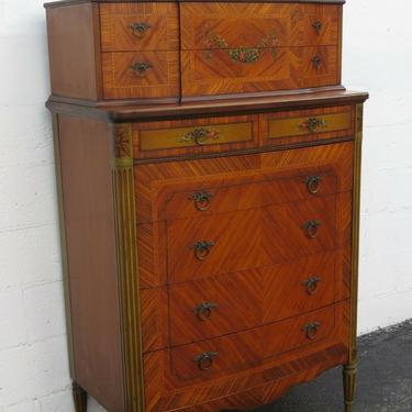 French Early 1900s Carved Hand Painted Inlay Tall Chest of Drawers 2459