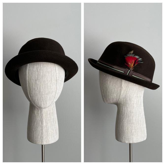 Vintage 60s Brown Wool Derby Bowler Hat- NEW OLD STOCK! by VintageChicVa