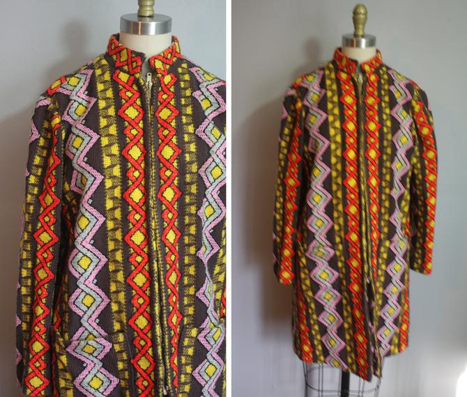 1970s Textured Dreamcoat // Abstract Pattern // Large by LawrenceOfBaltimore