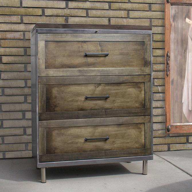 """Refinished Metal Filing Cabinet with Wood Drawer Face 30"""", 36"""" or 42"""" wide 3 drawer lateral / Office Storage / Cabinet Rustic / industrial by TheRusticForest"""