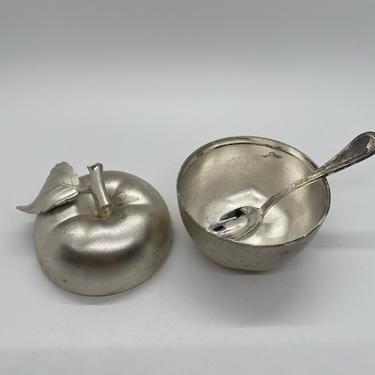 Silver-Plated Apple Form Condiment Jar, With tiny spoon