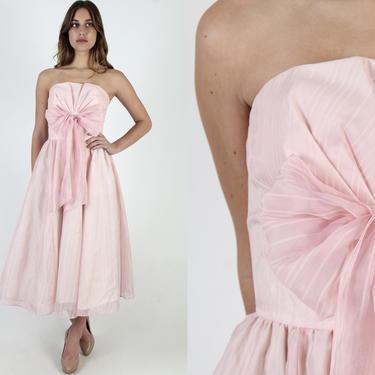 80s Gunne Sax Pink Chiffon Dress / 1980s Strapless Prom Dance Dress / Pleated Wedding Renaissance Bow Tie Midi Maxi Dress by americanarchive