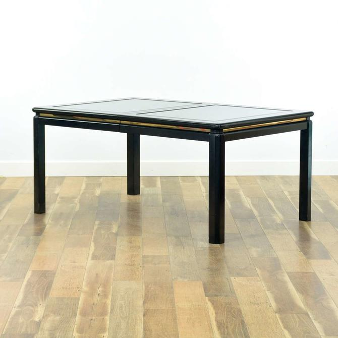 Modernist Black Table W Fogged Glass Inserts