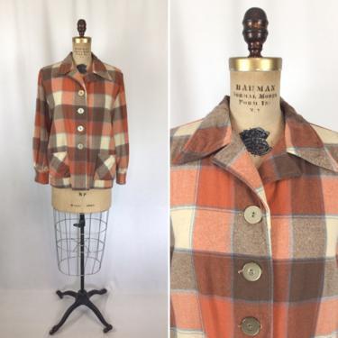Vintage 50s jacket | Vintage orange plaid forty niner jacket | 1950s wool button front 49er shirt jacket by BeeandMason