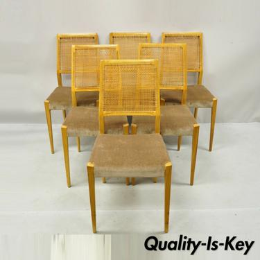 Mid Century Danish Modern Birch Wood Cane Back Dining Side Chairs - Set of 6